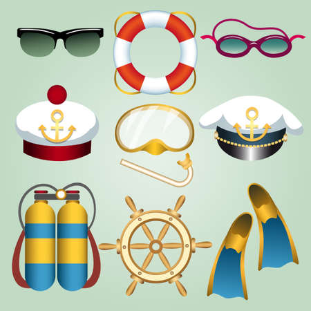 Set of summer beach vacation emblems drawn in cartoon style. Sun and swim glasses, seamans cap, flippers, life buoy, steering wheel, diving mask etc. Vector illustration.