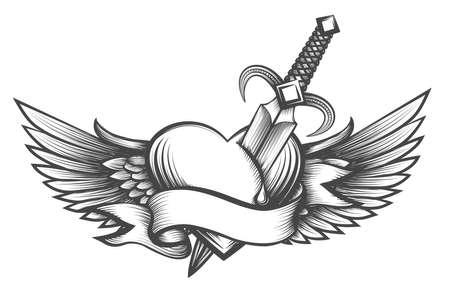 Corazón con alas perforadas por la daga y cinta con lugar para el texto. Ilustración de vector en estilo tatuaje Ilustración de vector
