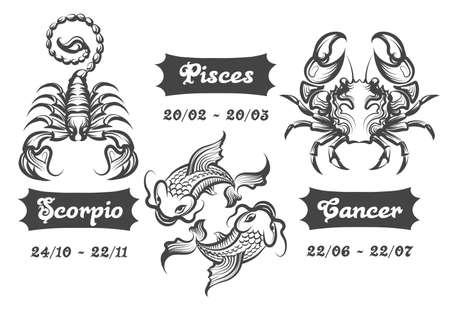 Set van water sterrenbeelden. Scorpion, Fishes and Cancer getekend in gravure stijl. Vector illustratie.