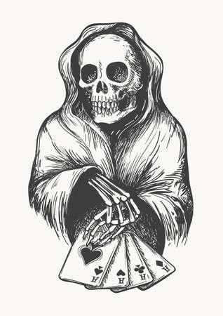 El esqueleto en la campana con las cartas. Símbolo de la muerte con la combinación de cuatro as. Ilustración vectorial en el estilo de grabado. Foto de archivo - 80633761
