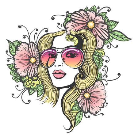 手白地に花模様のサングラスに描かれたな美しい長い髪少女。落書きヒッピー風の花のイラスト。