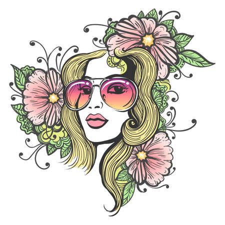 Hand drawn beautiful long haired girl in sun glasses with flowers on white background. Doodle floral illustration in hippie style.