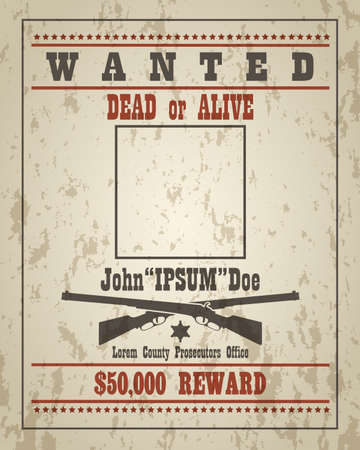 Wanted dead or alive western retro poster with grunge texture. Vector template with empty place your design.
