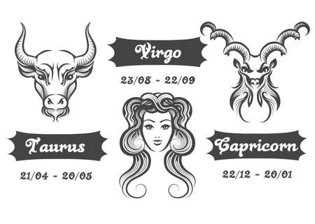 Set of Water Zodiac signs. Virgo Taurus and Capricorn drawn in engraving style. Vector illustration. 向量圖像