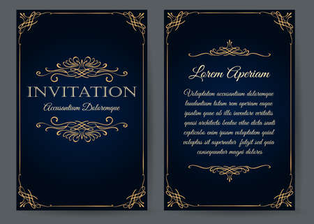 Ornate invitation card in vintage style. Floral decorative elements on rose flower background for anniversary or vedding design. Vector illustration. Illustration