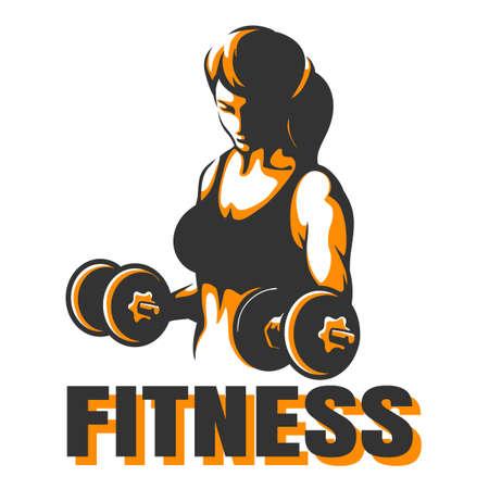 Bodybuilder Club oder Fitness Emblem. Athletic Woman Holding Gewicht. Vektor-Illustration Standard-Bild - 81068836