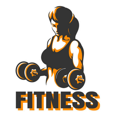 Bodybuilder Club or Fitness Emblem. Athletic Woman Holding Weight.  Vector illustration Ilustração