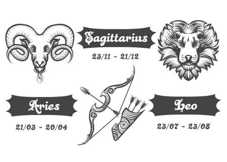 Set of Fire Zodiac signs. Aries Sagittarius and Leo drawn in engraving style. Vector illustration. Ilustração