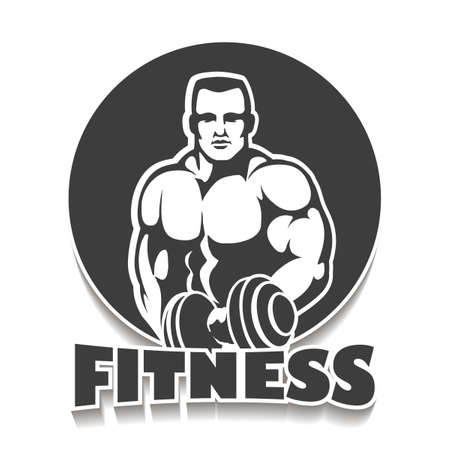 Fitness Club or Gym Emblem. Athletic Man with dumbbells. Athletic Sport creative concept. Bodybuilder  Sign, Symbol, badge.