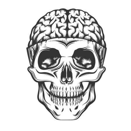 Human Skull with open brain. Vector illustration in tattoo style.