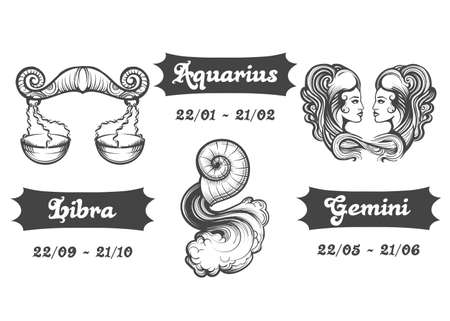 Set of Air Zodiac signs. Libra Aquarius and Gemini drawn in engraving style. Vector illustration. 向量圖像