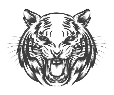 Roaring Tiger head drawn in tattoo style isolated on white. Vector illustration