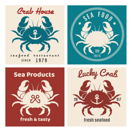 Set of retro seafood labels and signs. Vector illustration Ilustracja