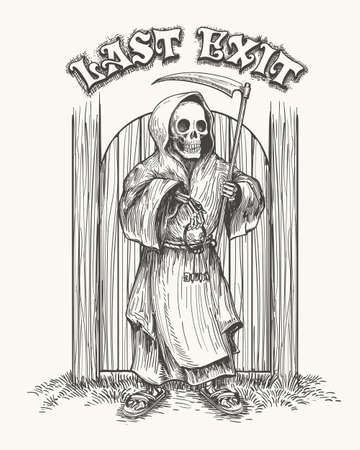 Hand drawn Death with Scythe and keys against the gate with wording Last Exit. Vector Illustration