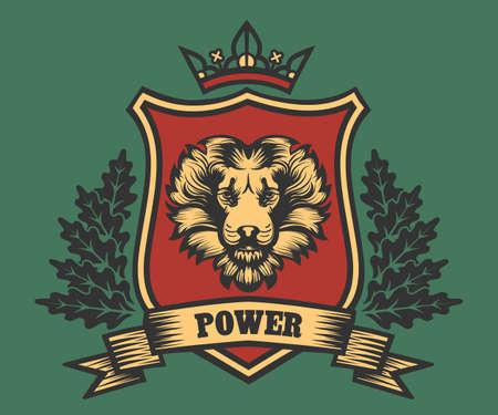 ライオン ヘッド リボンおよびカシの花輪の紋章付き外衣。ベクトル図