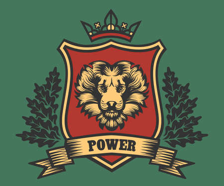 Lion head Coat of Arms with ribbon and oak wreath. Vector illustration Ilustração