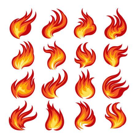 Set di fiamme colorate di fuoco. Illustrazione vettoriale