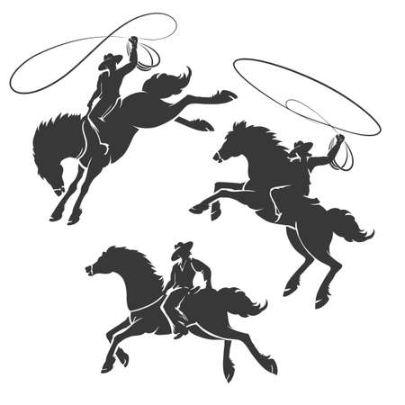 Cowboys ride on horses on a white background. Vector illustration