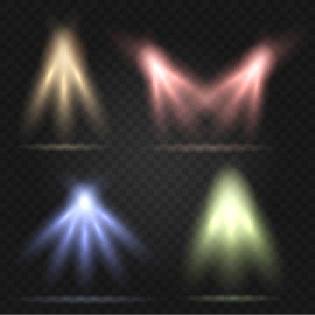 Concert Stage Lighting set. Spotlights on transparent Background. Vector illustration