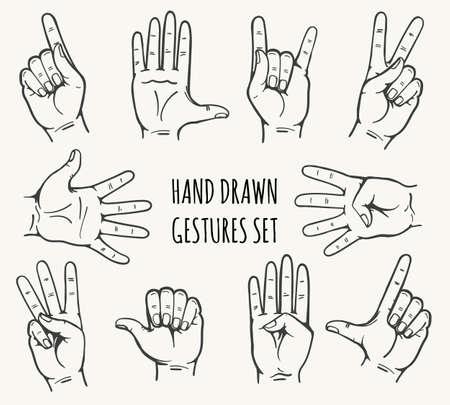 Ensemble de geste de main d'homme dessiné dans un style rétro. Illustration vectorielle. Banque d'images - 83417383