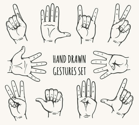 Set of man hand gesture drawn in retro style. Vector illustration.