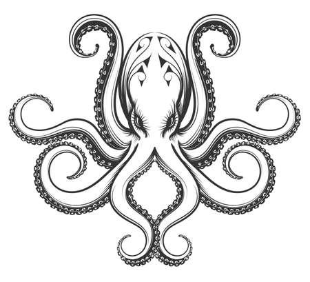 Ośmiornica rysowana w rytualnym stylu vintage. Ilustracja wektora samodzielnie na białym tle.