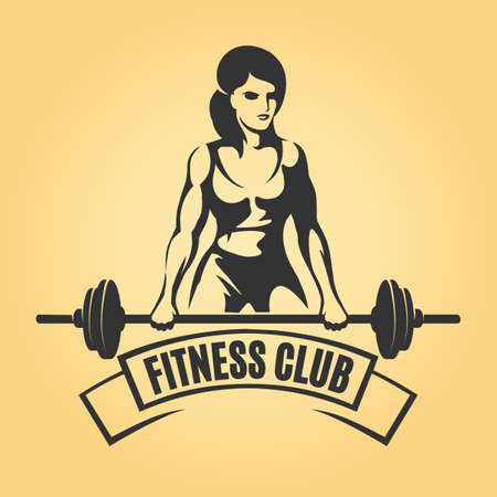 Bodybuilding o aptitud Retro emblema. Mujer Atlética Que Sostiene Barbell. Ilustración del vector Foto de archivo - 83820070