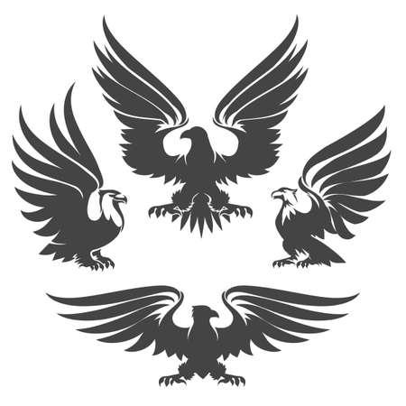 Heraldiekadelaars, haviken en valken getekend in tattoo stijl. Vector illustratie