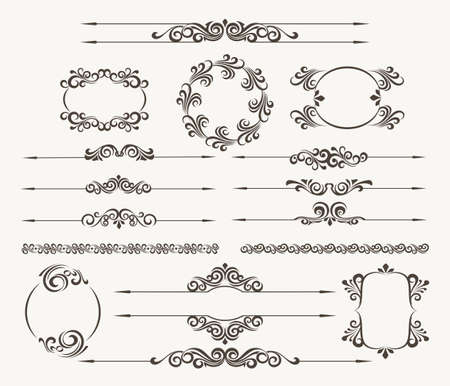 Set of calligraphic design elements for page decor. Filigree floral vector collection Illustration