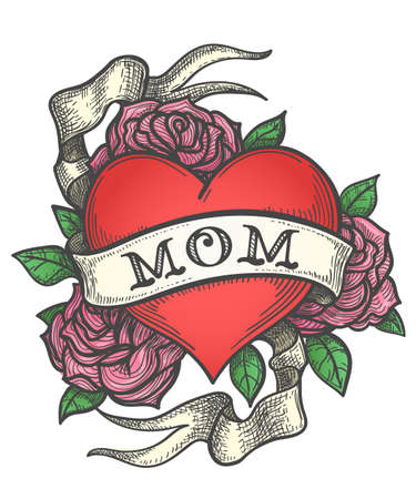Heart with rose flowers and ribbon with wording MOM. Retro tattoo vector illustration