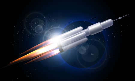 Rocket flying in the space against planet. Vector illustration