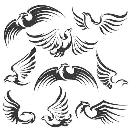 Set of flying eagles icon isolated on white for emblem or logo design. Vector illustration Illustration