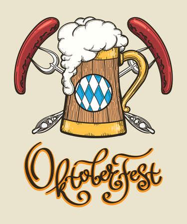 Retro Oktoberfest design. Poster with beer mug and two sausages on forks. Vector illustration. Ilustrace