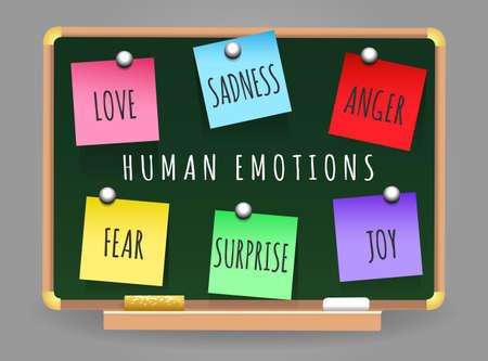学校クラスの理事会の主要な人間の感情ステッカーのセットです。大好きです。悲しみ、怒り、喜び、恐怖と驚き。ベクトルの図。  イラスト・ベクター素材