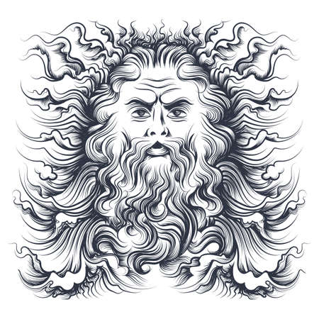 Roman sea god Neptune head. Mythology character drawn in engraving style. Vector illustration. Vettoriali
