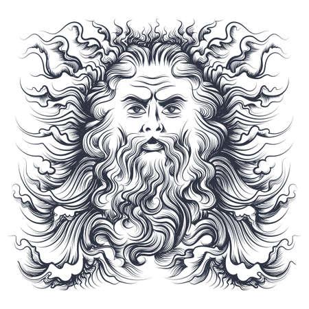 Tête de Neptune de dieu de la mer romaine. Personnage mythologique dessiné en style gravure. Illustration vectorielle.