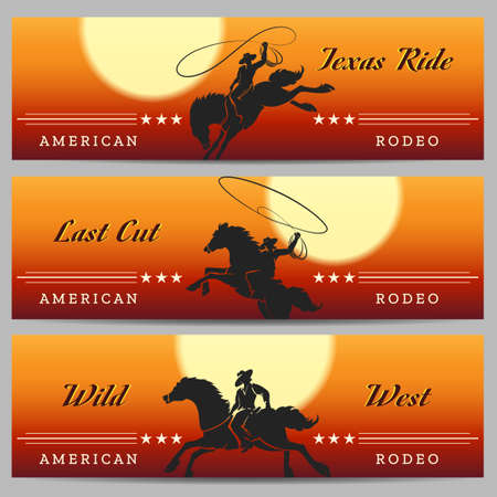 Cowboy Rodeo horizontal banners set with desert rodeo and rider silhouettes. Vector illustration Иллюстрация
