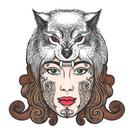 Fille face à un tatouage tribal dans un chapeau sous la forme d'une tête de loup. Illustration vectorielle Banque d'images - 85491526