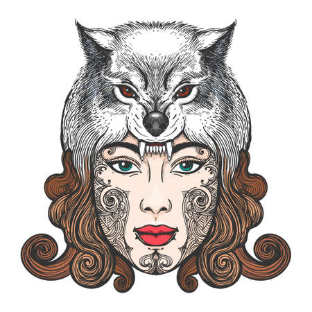 Girl face with tribal tattoo in a hat in the form of a wolfs head. Vector ilustration Illustration
