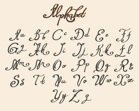 インク スタイルで描画される手書き書道フォントです。ベクトル図