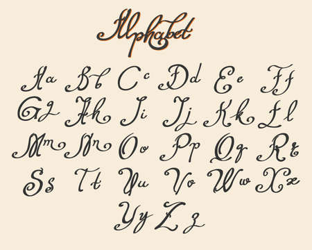 Handwritten calligraphy font drawn in ink style. Vector illustration