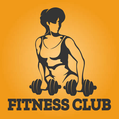 Athletic woman exercises with dumbbell. Fitness club design element. Vector illustration.