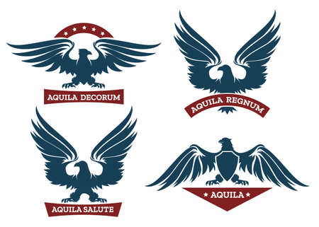 Set of eagle heraldic labels with stars, shields and ribbons. Symbol and bird, logo design element. Vector illustration Illustration
