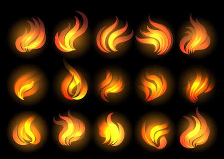 漫画のスタイルで描かれた火炎のセットです。ベクトルの図。  イラスト・ベクター素材