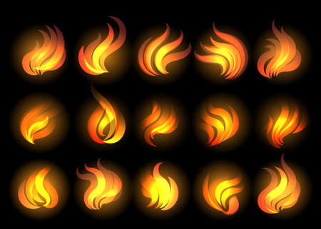 Set of fire flames drawn in cartoon style. Vector Illustration.