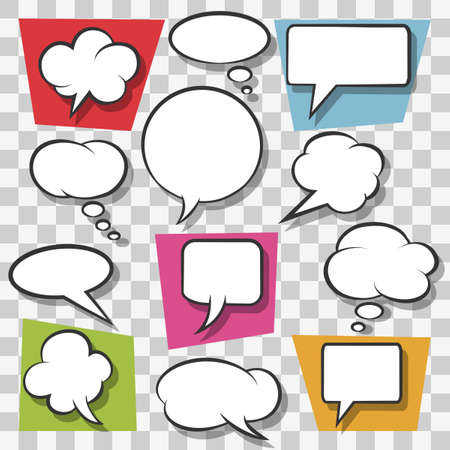 Blank speech bubbles drawn in pop art style on transparent background. Vector illustration Ilustração