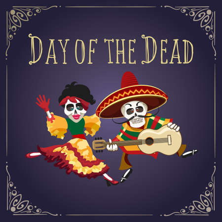 Poster to Mexican holiday Day of the dead with dancing skeletons in festive clothes. Vector illustration