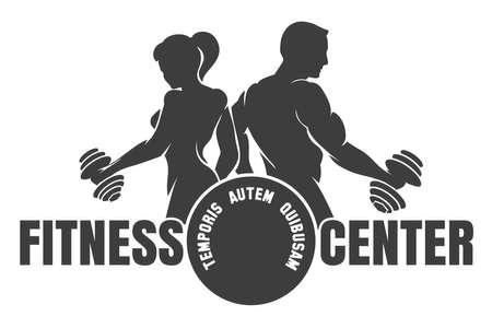 Logotipo del club de fitness con el ejercicio de hombre atlético y mujer aislada en blanco, ilustración vectorial