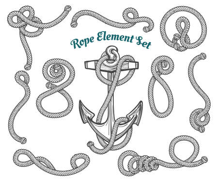 set handgetrokken touwhoeken en lussen. Vector touw design elementen.