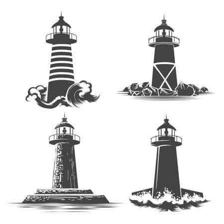 Vuurtoren Logo Design Set. Verschillende vuurtoren emblemen vector illustratie. Stock Illustratie